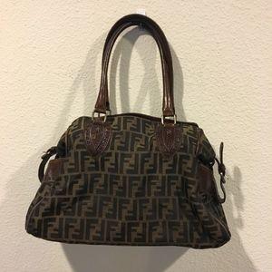 Fendi monogram signature logo purse bag satchel